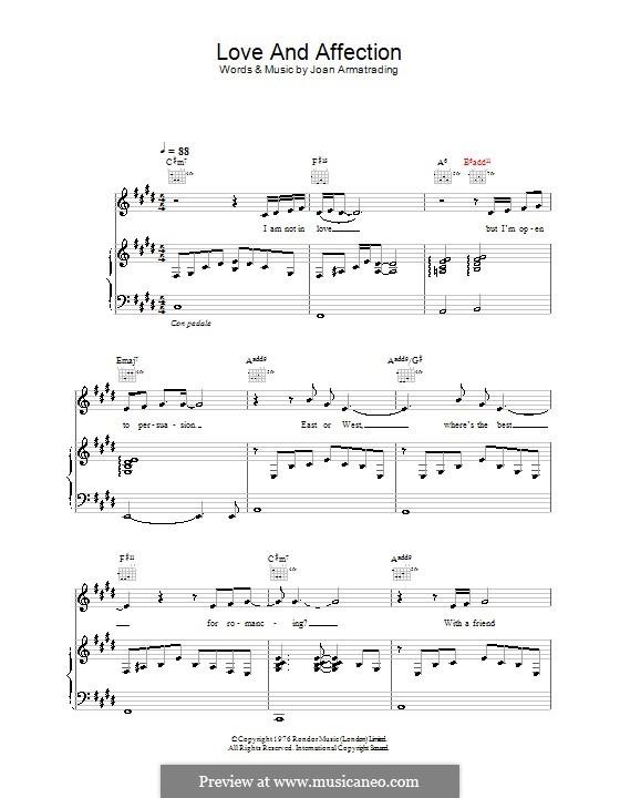 Love and Affection: Para vocais e piano (ou Guitarra) by Joan Armatrading