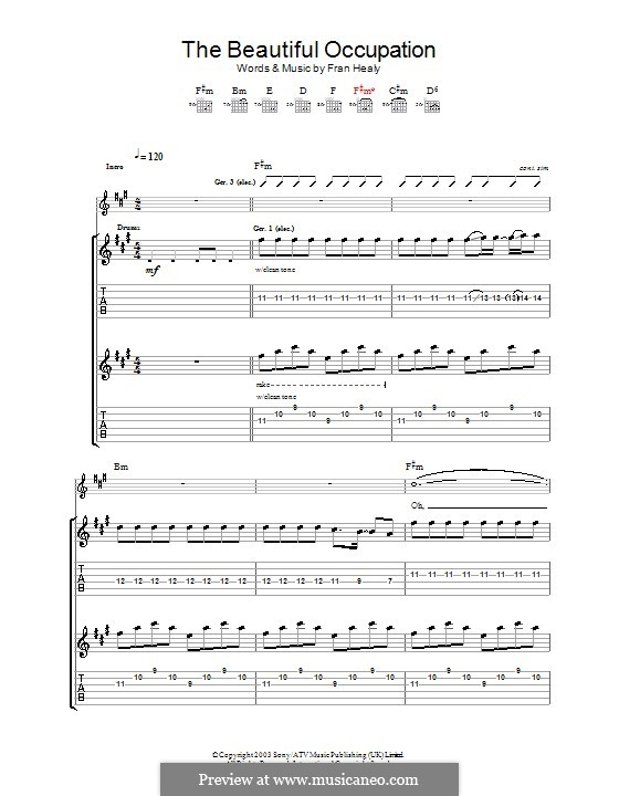 The Beautiful Occupation (Travis): Para guitarra com guia by Fran Healy