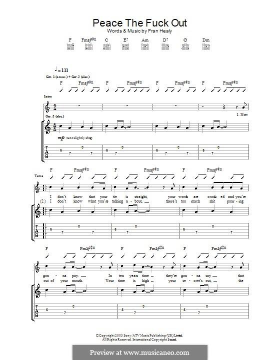 Peace the Fuck Out (Travis): Para guitarra com guia by Fran Healy