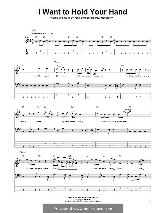 I Want to Hold Your Hand (The Beatles): para baixo com guia by John Lennon, Paul McCartney