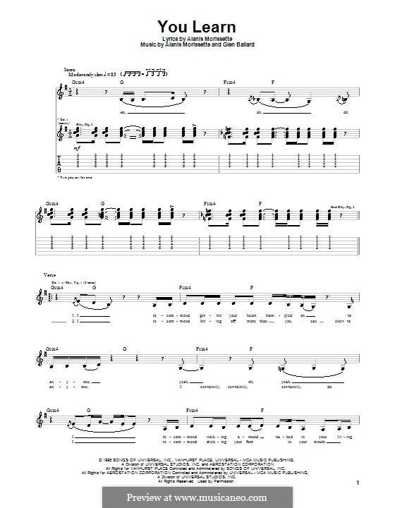 You Learn: Para guitarra com guia by Alanis Morissette, Glen Ballard