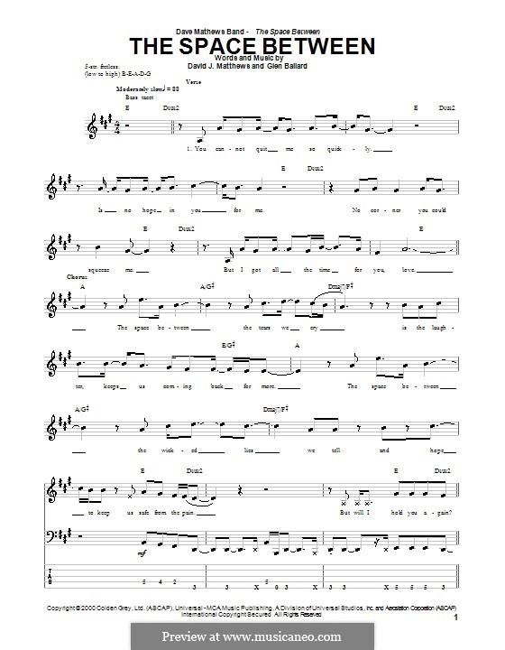 The Space Between (Dave Matthews Band): para baixo com guia by David J. Matthews, Glen Ballard
