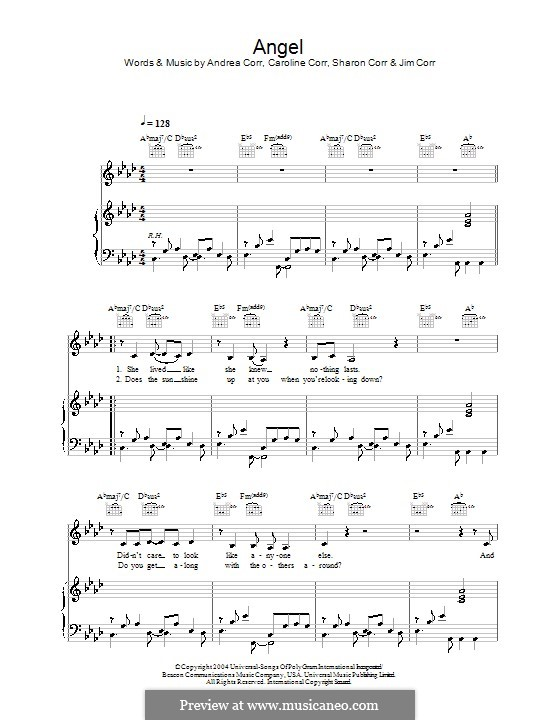 Angel (The Corrs): Для голоса и фортепиано (или гитары) by Andrea Corr, Caroline Corr, Sharon Corr