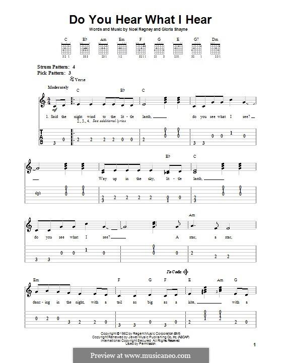 Do You Hear What I Hear (Instrumental version): Для гитары (легкий уровень) с табулатурой by Gloria Shayne, Noël Regney