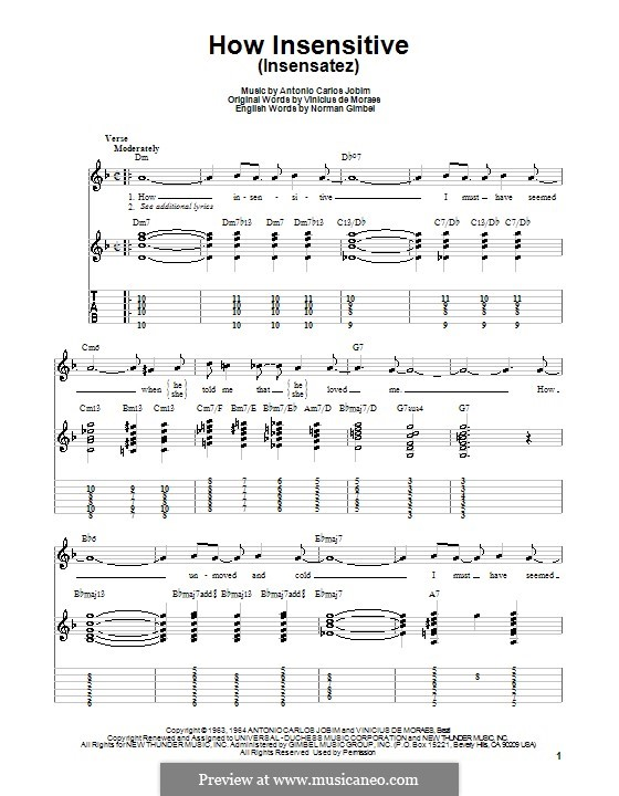 How Insensitive (Insensatez): Для гитары (очень легкая версия) by Antonio Carlos Jobim