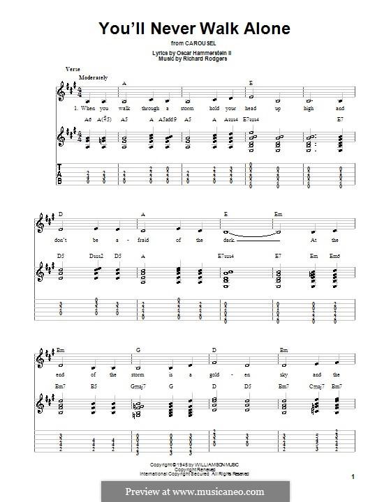 You'll Never Walk Alone (from Carousel): Для гитары (легкий уровень) с табулатурой by Richard Rodgers