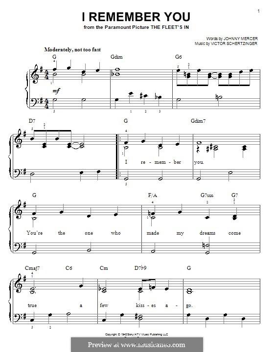 I Remember You (Diana Krall): Для фортепиано (легкий уровень) by Victor Schertzinger
