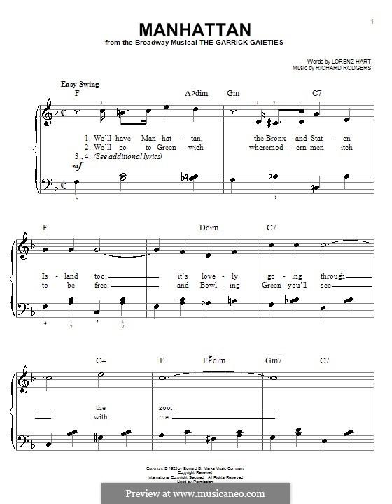 Manhattan: Для фортепиано (легкий уровень) by Richard Rodgers