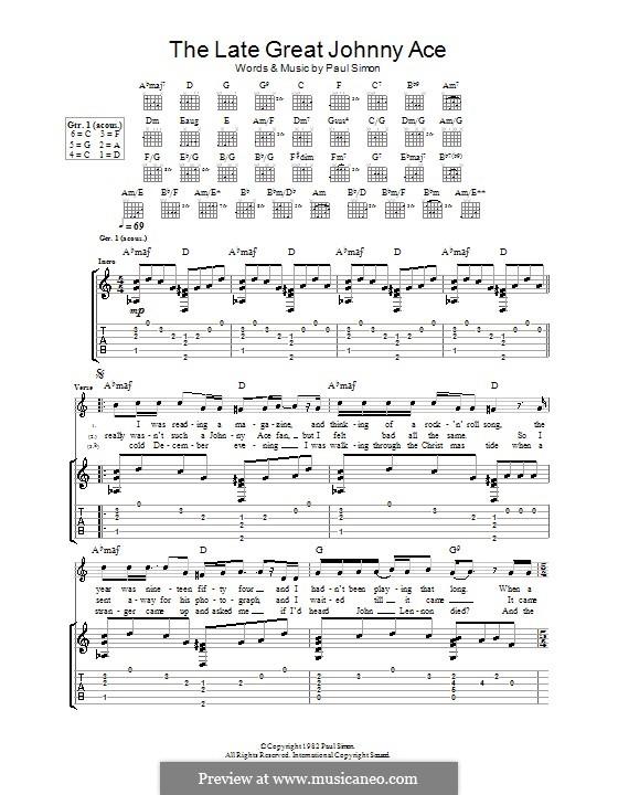 The Late Great Johnny Ace: Гитарная табулатура by Paul Simon