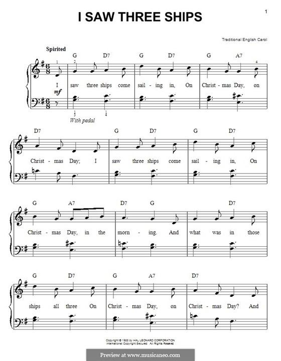 I Saw Three Ships: Для фортепиано (легкий уровень, с аккордами) by folklore