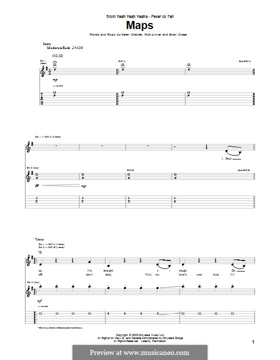 Maps (Yeah Yeah Yeahs): Для гитарыс табулатурой by Brian Chase, Karen O, Nicholas Zinner