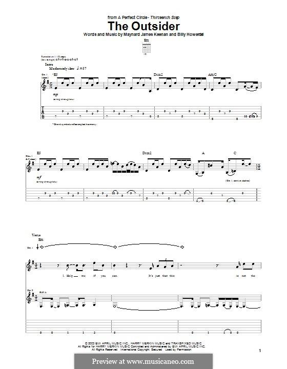 The Outsider (A Perfect Circle): Гитарная табулатура by Billy Howerdel, Maynard James Keenan