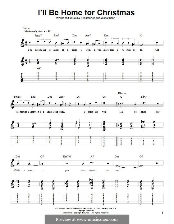 I'll Be Home for Christmas: Гитарная табулатура (Bing Crosby) by Kim Gannon, Walter Kent