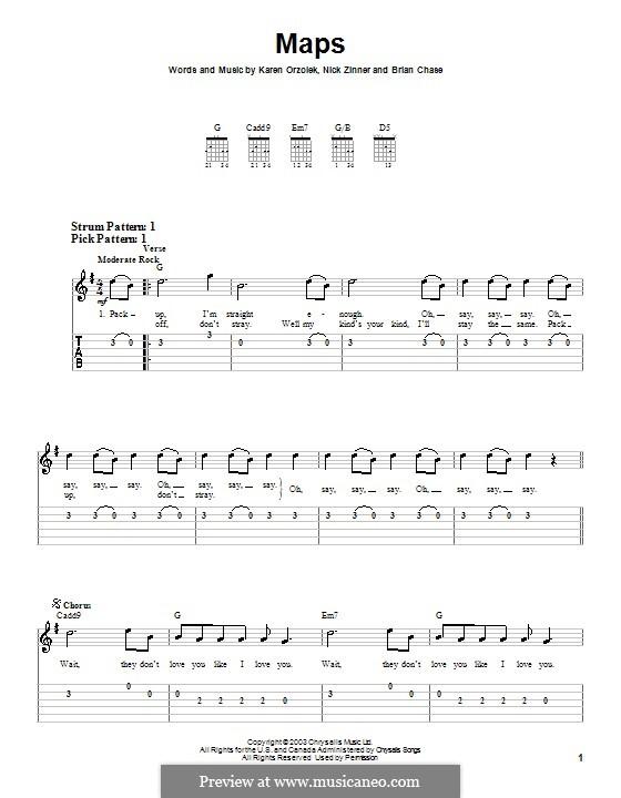 Maps (Yeah Yeah Yeahs): Для гитары (очень легкая версия) by Brian Chase, Karen O, Nicholas Zinner
