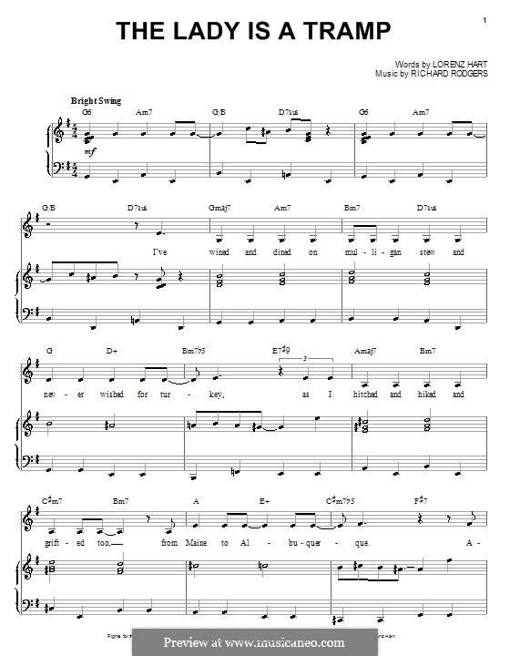 The Lady is a Tramp (Frank Sinatra): Для голоса и фортепиано или гитары by Richard Rodgers