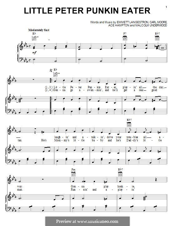 Little Peter Punkin Eater: Для голоса и фортепиано (или гитары) by Ace Hampton, Carl Moore, Emmett Langeston, Malcolm Underwood