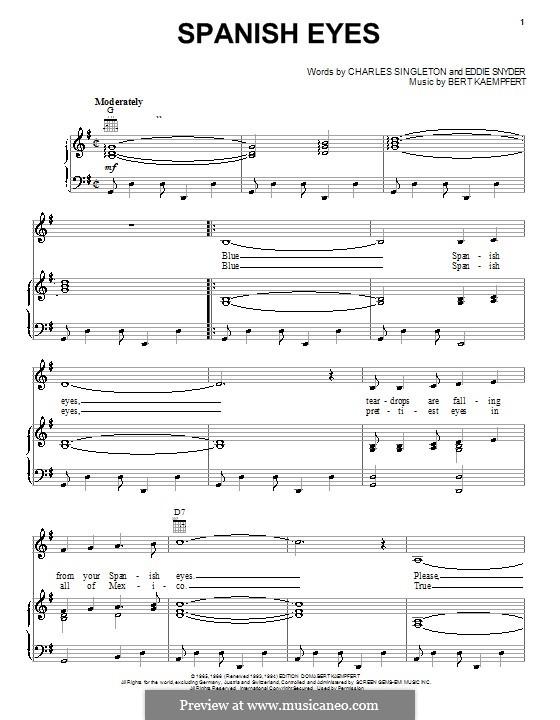 Spanish Eyes (Al Martino): Для голоса и фортепиано (или гитары) by Bert Kaempfert, Charles Singleton, Eddie Snyder