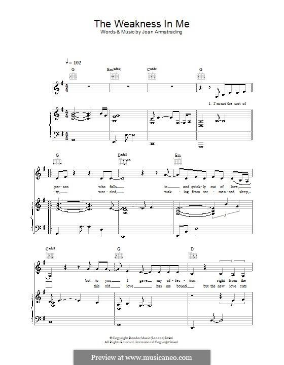 The Weakness in Me: Для голоса и фортепиано (или гитары) by Joan Armatrading