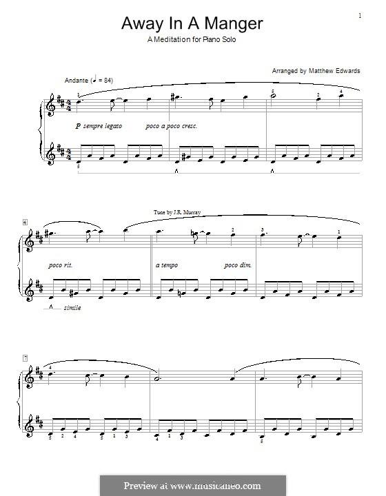 Away in a Manger: Для фортепиано (D Major) by folklore