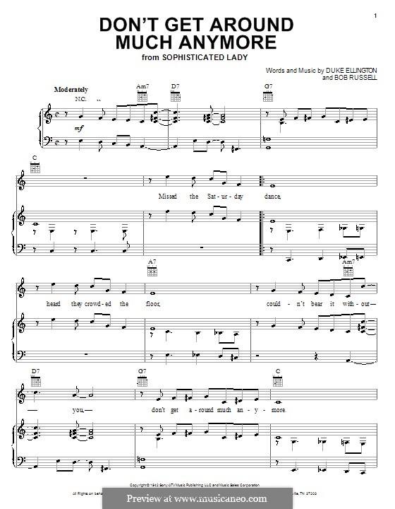 Don't Get Around Much Anymore: Для голоса и фортепиано (или гитары) by Duke Ellington
