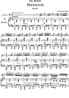 Мазурка ми минор, B.90 Op.49: Для фортепиано by Антонин Дворжак