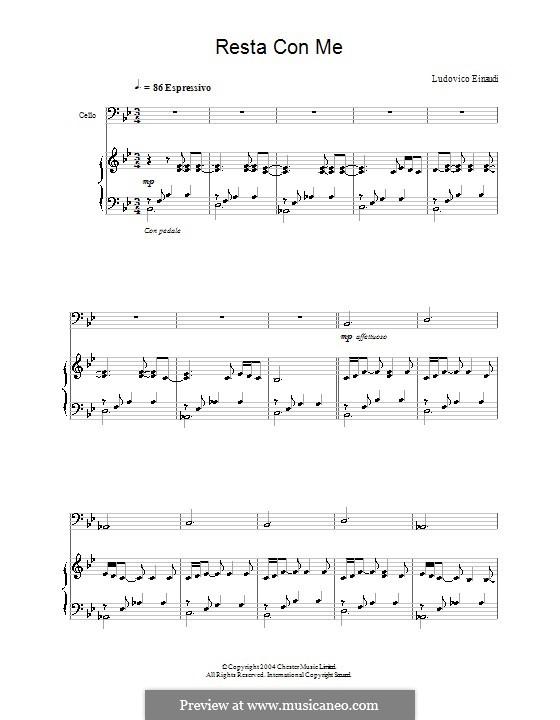 Resta con Me: Для виолончели и фортепиано by Ludovico Einaudi