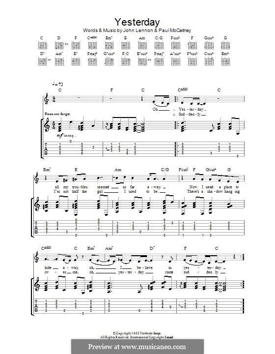 Yesterday (The Beatles): Гитарная табулатура (C Major) by John Lennon, Paul McCartney