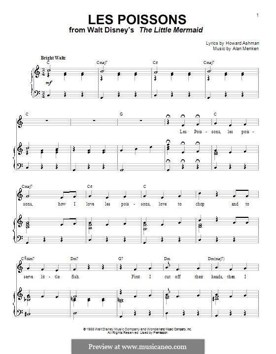 Les Poissons (from The Little Mermaid): Для голоса и фортепиано или гитары (до мажор) by Alan Menken