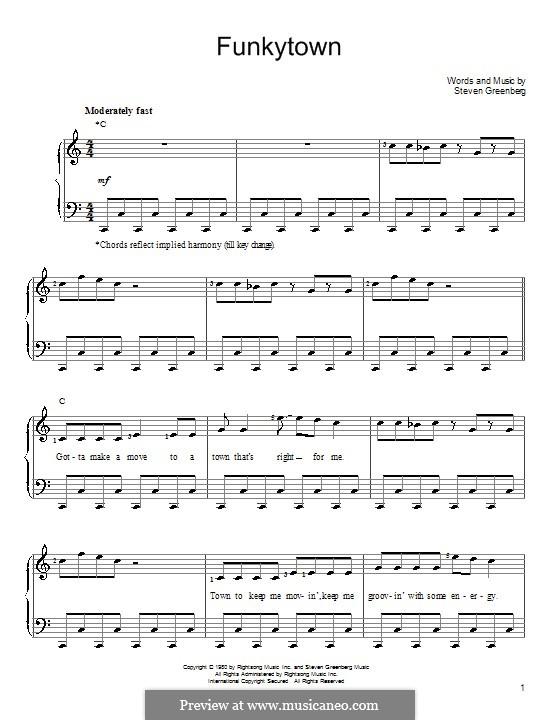 Funkytown (Lipps Inc.): Для фортепиано (легкий уровень) by Steven Greenberg