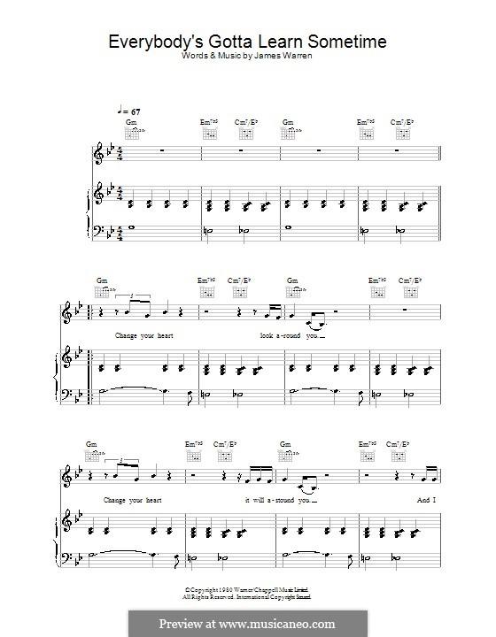 Everybody's Gotta Learn Sometime (from Eternal Sunshine of the Spotless Mind): Для голоса и фортепиано (или гитары) by James Warren