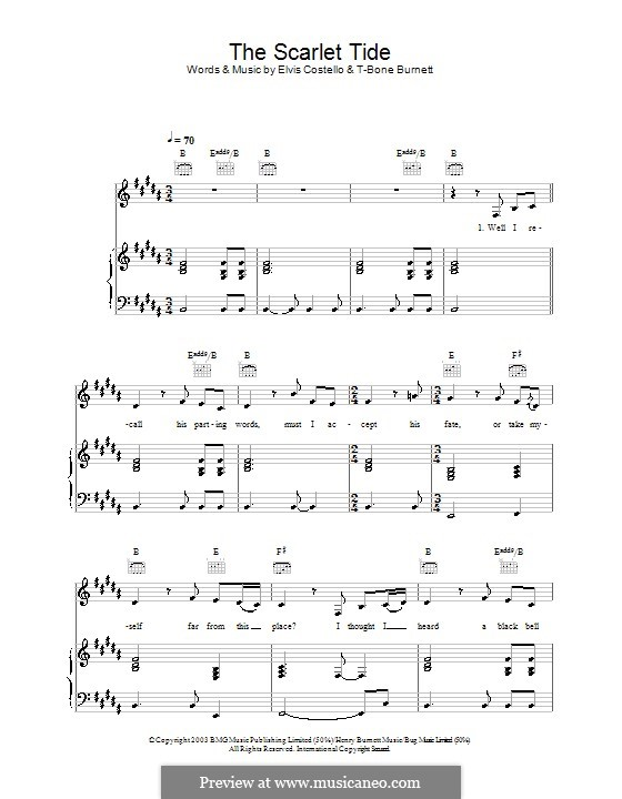 The Scarlet Tide (from Cold Mountain): Для голоса и фортепиано (или гитары) by Elvis Costello, T-Bone Burnett