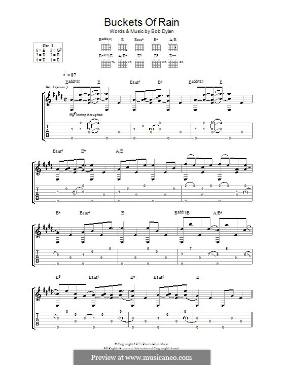 Buckets of Rain: Гитарная табулатура by Bob Dylan