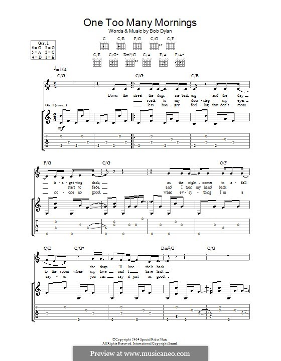 One Too Many Mornings: Гитарная табулатура by Bob Dylan