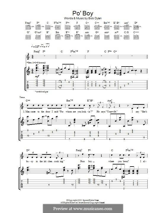 Po' Boy: Гитарная табулатура by Bob Dylan