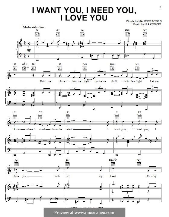 I Want You, I Need You, I Love You (Elvis Presley): Для голоса и фортепиано (или гитары) by Ira Kosloff