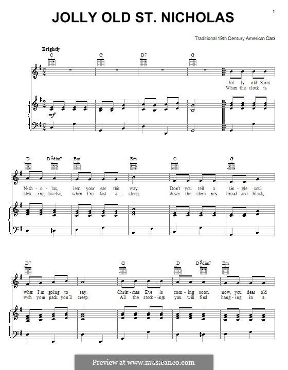Jolly Old St. Nicholas: Для голоса и фортепиано (или гитары) by folklore