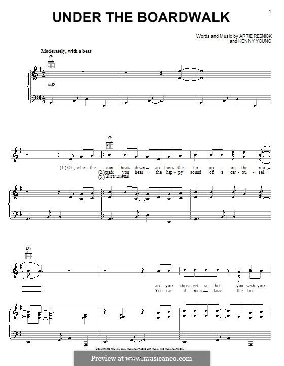 Under the Boardwalk (The Drifters): Для голоса и фортепиано (или гитары) by Art Resnick, Kenny Young
