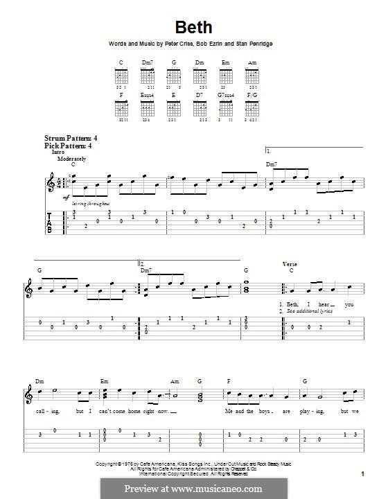 Beth: Для гитары (очень легкая версия) by Bob Ezrin, Peter Criss, Stan Penridge
