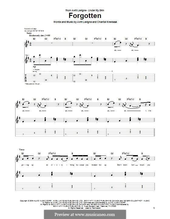 Forgotten (Avril Lavigne): Гитарная табулатура by Chantal Kreviazuk