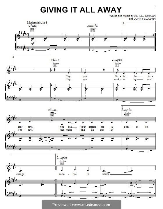Giving It All Away (Ashlee Simpson): Для голоса и фортепиано (или гитары) by John Feldmann