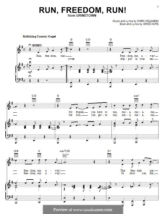 Run, Freedom, Run!: Для голоса и фортепиано (или гитары) by Greg Kotis, Mark Hollmann