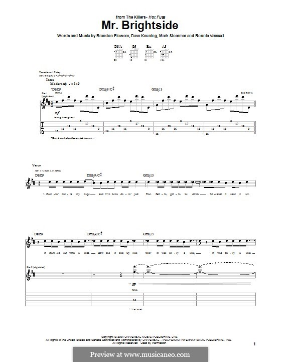 Mr. Brightside (The Killers): For guitar tabulature by Brandon Flowers, Dave Keuning, Mark Stoermer, Ronnie Vannucci