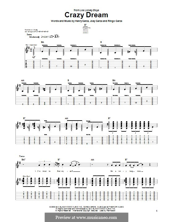 Crazy Dream (Los Lonely Boys): Гитарная табулатура by Henry Garza, Joey Garza, Ringo Garza