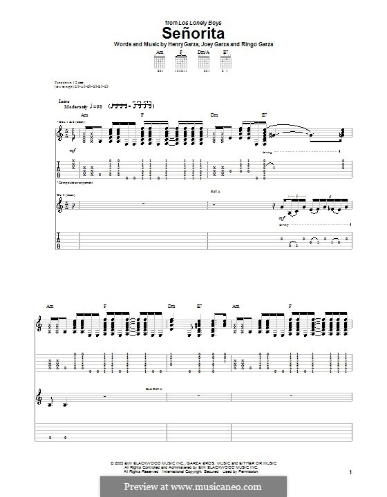 Senorita (Los Lonely Boys): Гитарная табулатура by Henry Garza, Joey Garza, Ringo Garza
