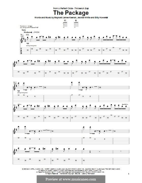 The Package (A Perfect Circle): Гитарная табулатура by Billy Howerdel, Jeordie White, Maynard James Keenan