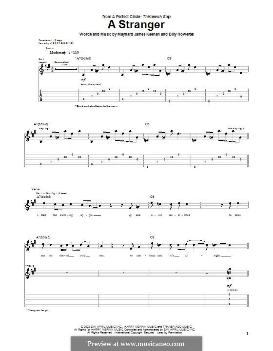 A Stranger (A Perfect Circle): Гитарная табулатура by Billy Howerdel, Maynard James Keenan