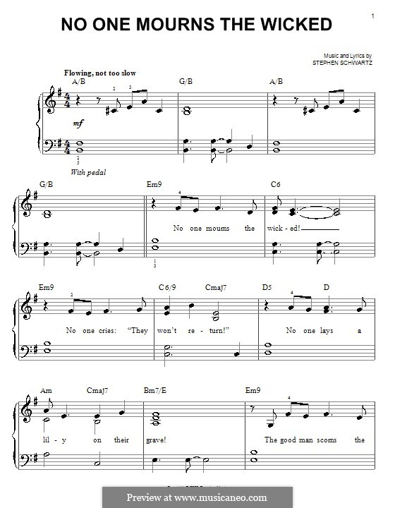 No One Mourns the Wicked: Для фортепиано (легкий уровень) by Stephen Schwartz