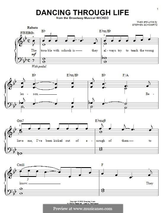 Dancing Through Life (from Wicked): Для фортепиано (легкий уровень) by Stephen Schwartz