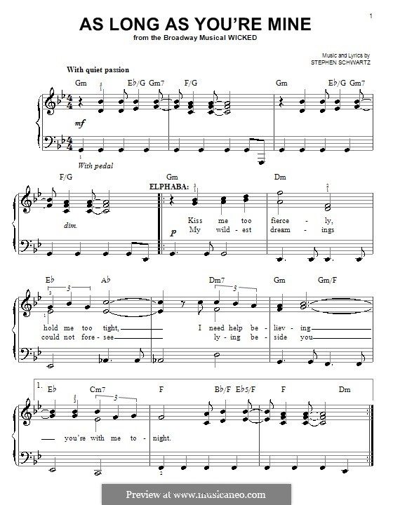 As Long as You're Mine (from Wicked): Для фортепиано (легкий уровень) by Stephen Schwartz