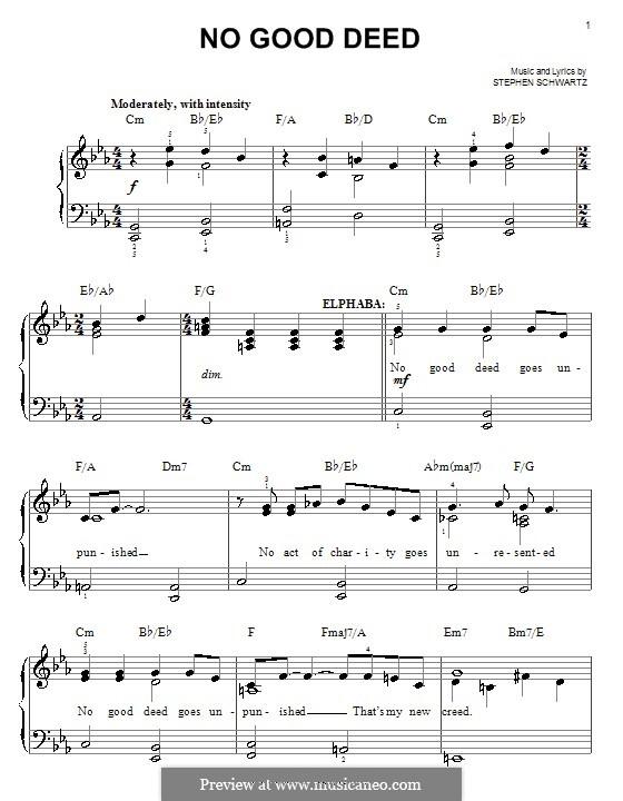 No Good Deed (from Wicked): Для фортепиано (легкий уровень) by Stephen Schwartz